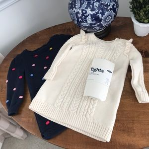 2 baby GAP sweater dresses with tights